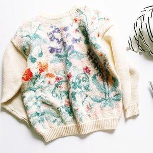 Vintage dainty floral mohair crewneck sweater